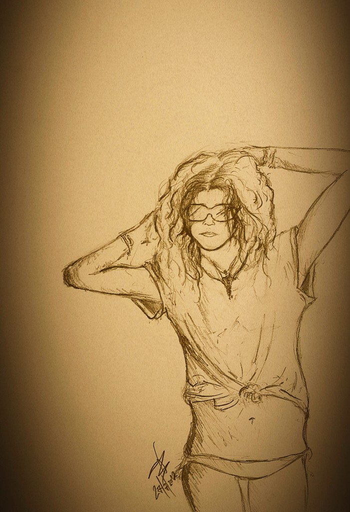 female pencil drawing