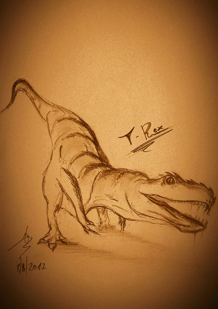 pencil art dinosaur