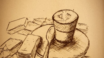 Coffee drawing – Sketch art
