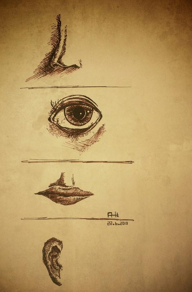 lips drawing, eye drawing