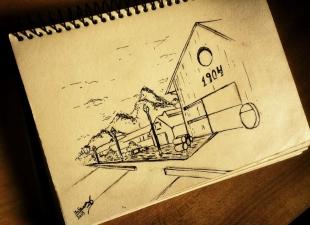 Village – Landscape drawing