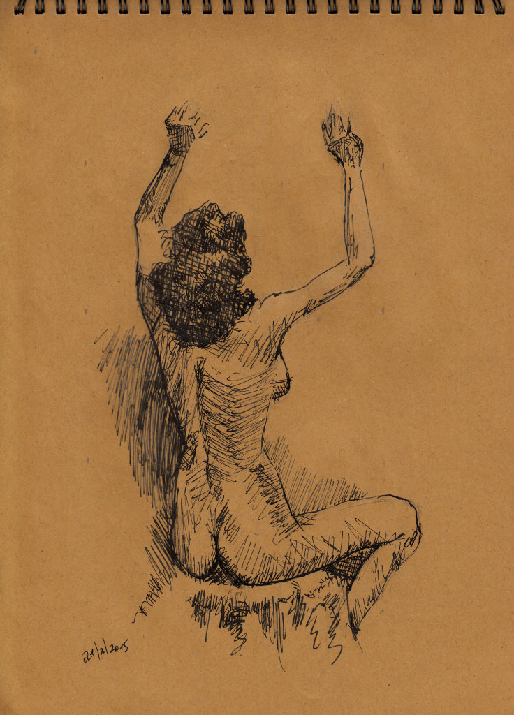 רישום בעיפרון של ציור עירום