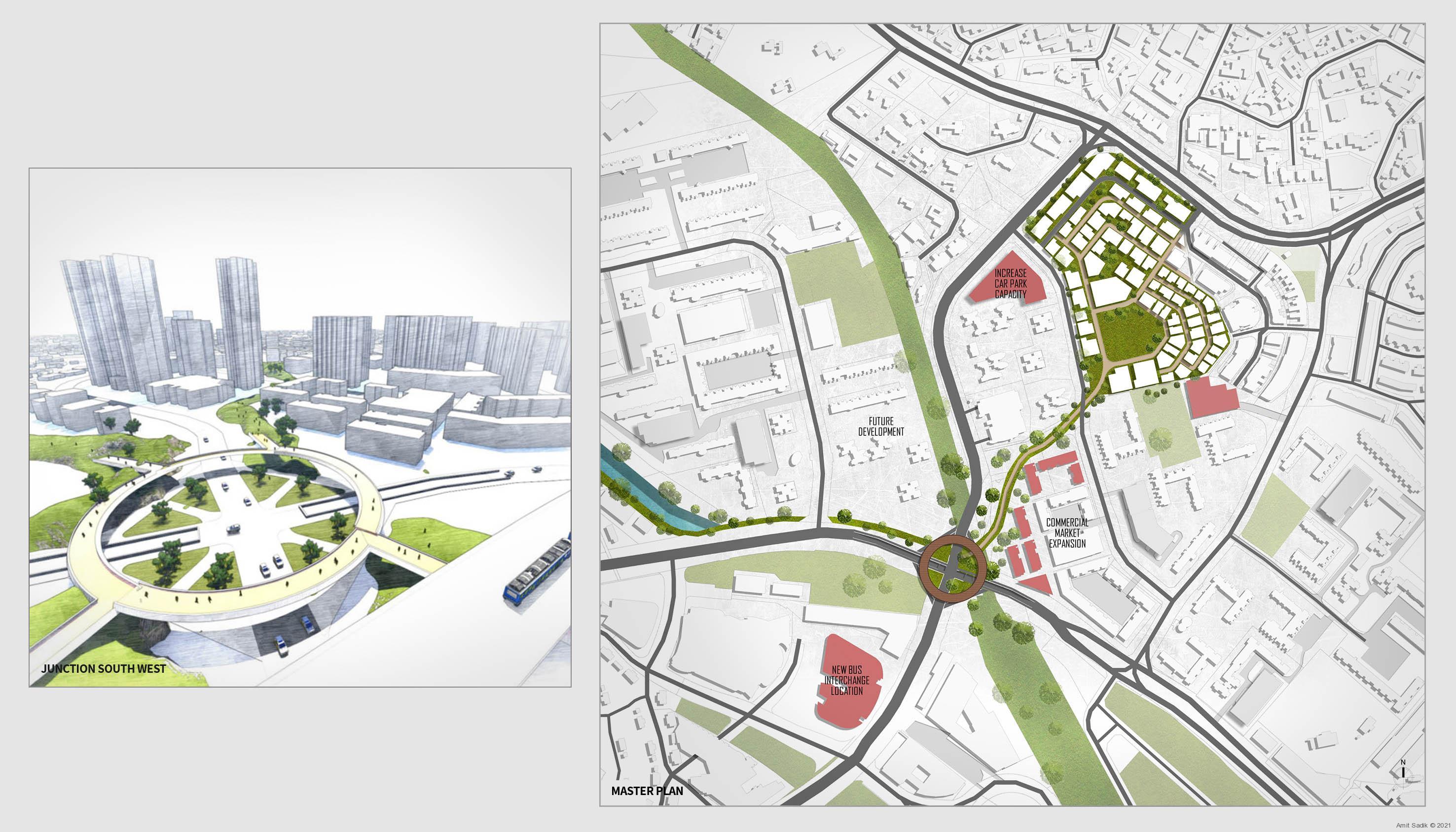 Urban plan, circular pedestrian bridge